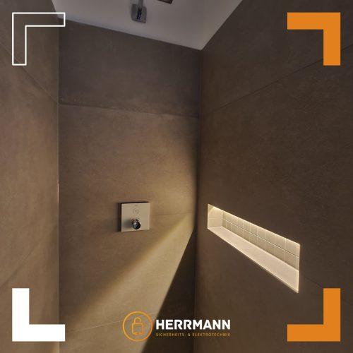 Elektrotechnik vom Feinsten – Indirekte Beleuchtung in der Dusche